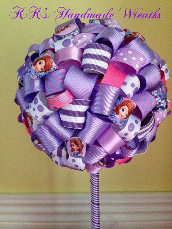 Sofia The First Ribbon Topiary on Etsy, $28.00