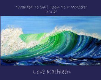 Large Custom Listing Impasto  Ocean Wave by HavePaintWillTravel
