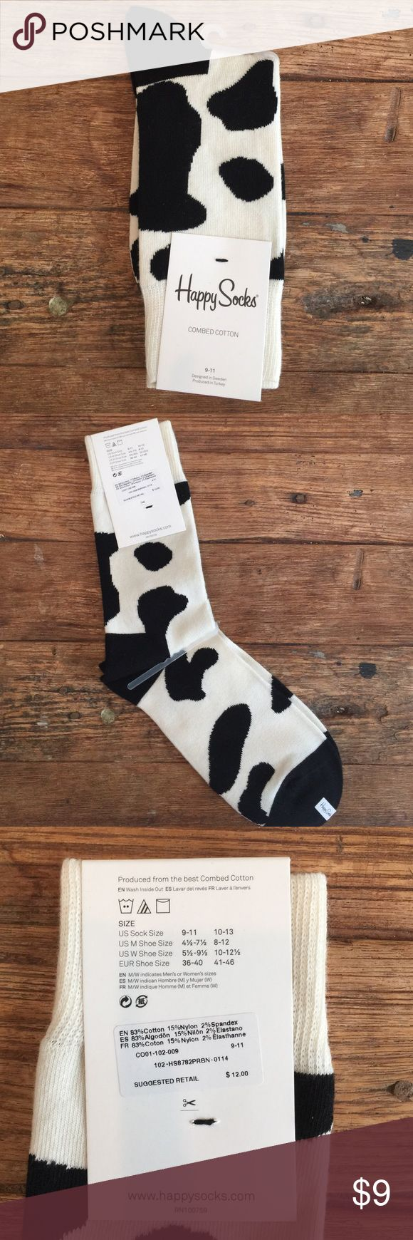 HAPPY SOCKS NEW Cow print Happy Socks! Size 9-11, women's! Super cute and comfortable. Happy Socks Accessories Hosiery & Socks