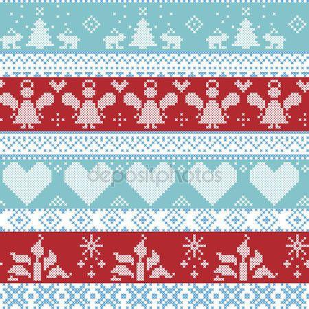 Скачать - Светло-синий, синий, белый и красный Скандинавский Скандинавский Рождество бесшовные крест узор стежок с ангелами, Xmas деревья, кролики, снежинки, свечи, ленты с декоративными украшениями — стоковая иллюстрация #83047644