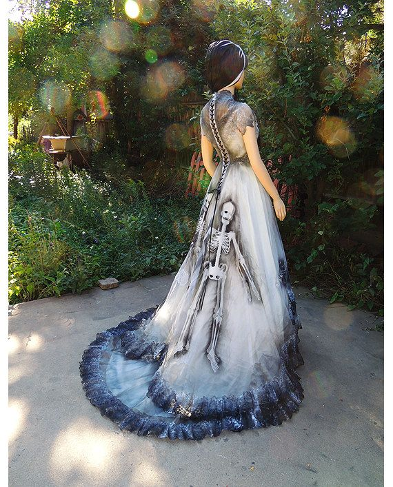 Blackened Burned Ghostly Spider Bride Wedding Dress Gown By