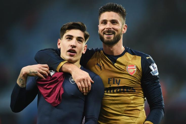 BIRMINGHAM, ENGLAND - DECEMBER 13:  Olivier Giroud and Hector Bellerin of Arsenal celebrate victory after the Barclays Premier League match between Aston Villa and Arsenal at Villa Park on December 13, 2015 in Birmingham, England.  (Photo by Michael Regan/Getty Images)