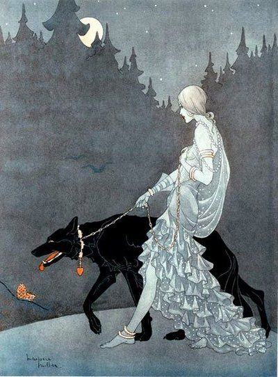 Queen of the Night, 1931 by Marjorie MillerArt Nouveau, Miller 1931, Queens, Black Dogs, Marjorie Miller, Illustration, Wolves, Night, Art Deco