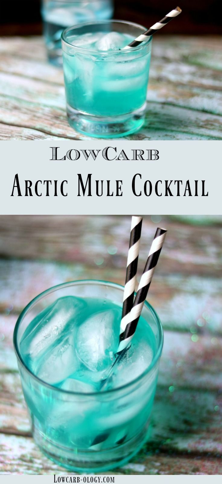 Low carb vodka cocktail recipe that's perfect for winter! This Arctic Mule is exactly what you're looking for! Icy cold vodka is blended with sugar free peppermint syrup so each sip feels like you're breathing the icy arctic air! The blue color just adds to the charm of this delicious Moscow Mule variation with 0 carbs from Lowcarb-ology.com #lowcarb #lowcarbcocktailrecipes #vodkacocktails via @Marye at Restless Chipotle