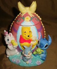 Adorable DISNEY Store EASTER EGG Pooh Stitch Thumper Marie TRINKET Box AS IS!
