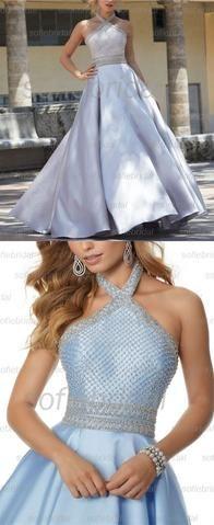 grey halter sparkle prom dress a-line top shine evening dress beaded satin cocktaildress,HS058  #promdresses #prom #dresses #fashion #shopping #eveningdress