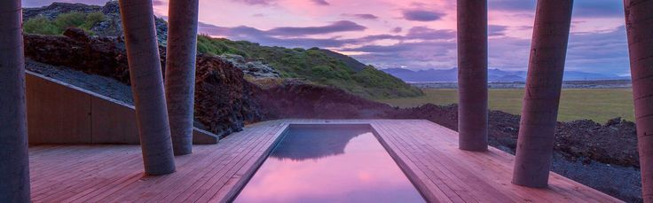 Stunning sunset from the pool at ION Luxury Adventure Hotel near Reykjavik