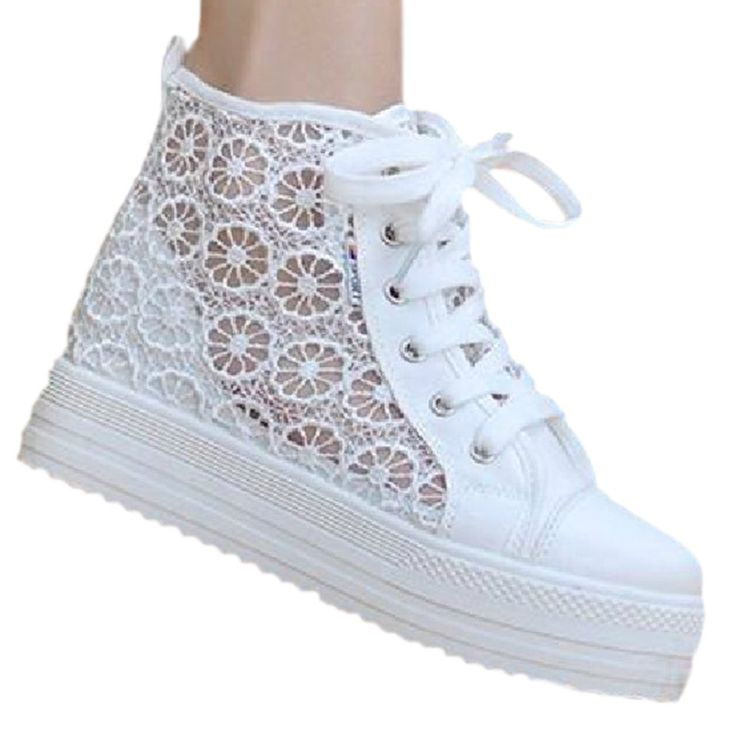 Ace Women's Summer High-top Platform Breathable Lace Shoes Fashion Sneakers (5.5, white)