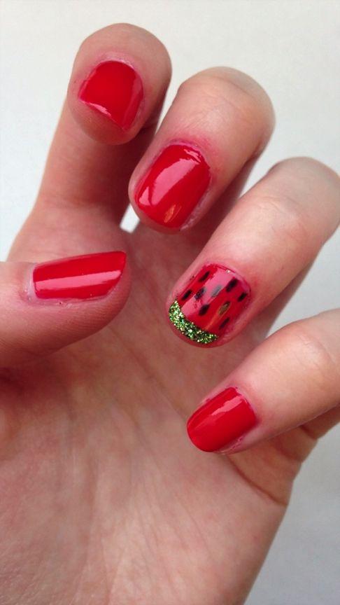 DIY Glitter Watermelon Nail Design