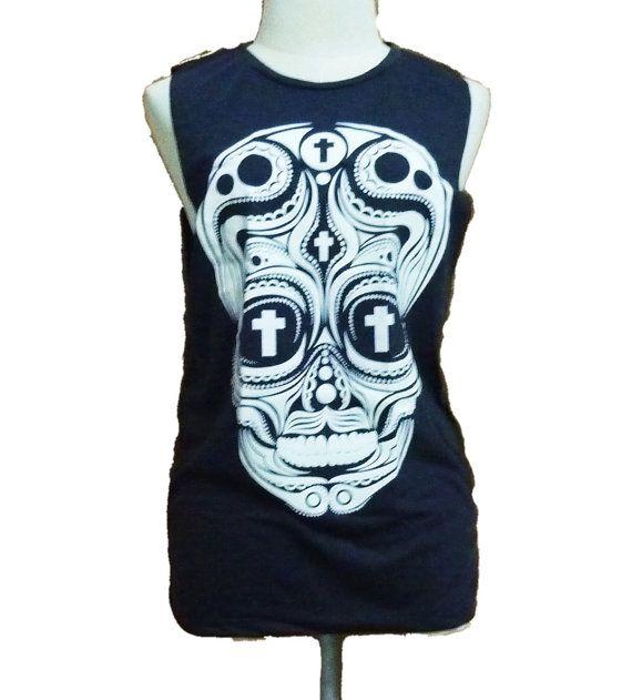 Sale Cross skull cut off shirt tank top graphic tee by TuesdayTee