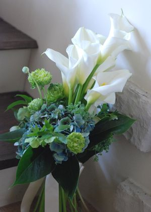 Blue Hydrangea, Green Snowball Viburnum, White Calla Lilies, Greenery/Foliage Wedding Bouquet