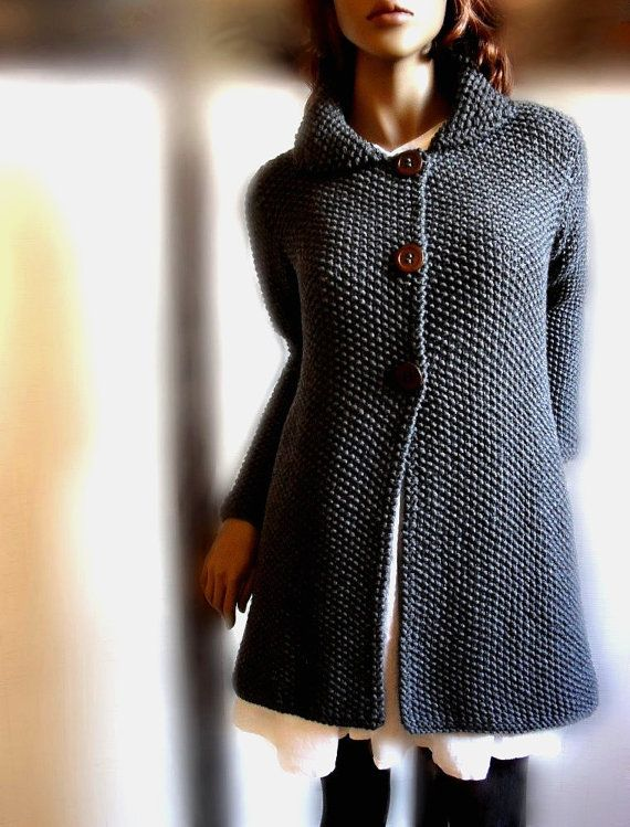 Womens hand knit sweater Merino wool long cardigan coat Charcoal Grey Many…