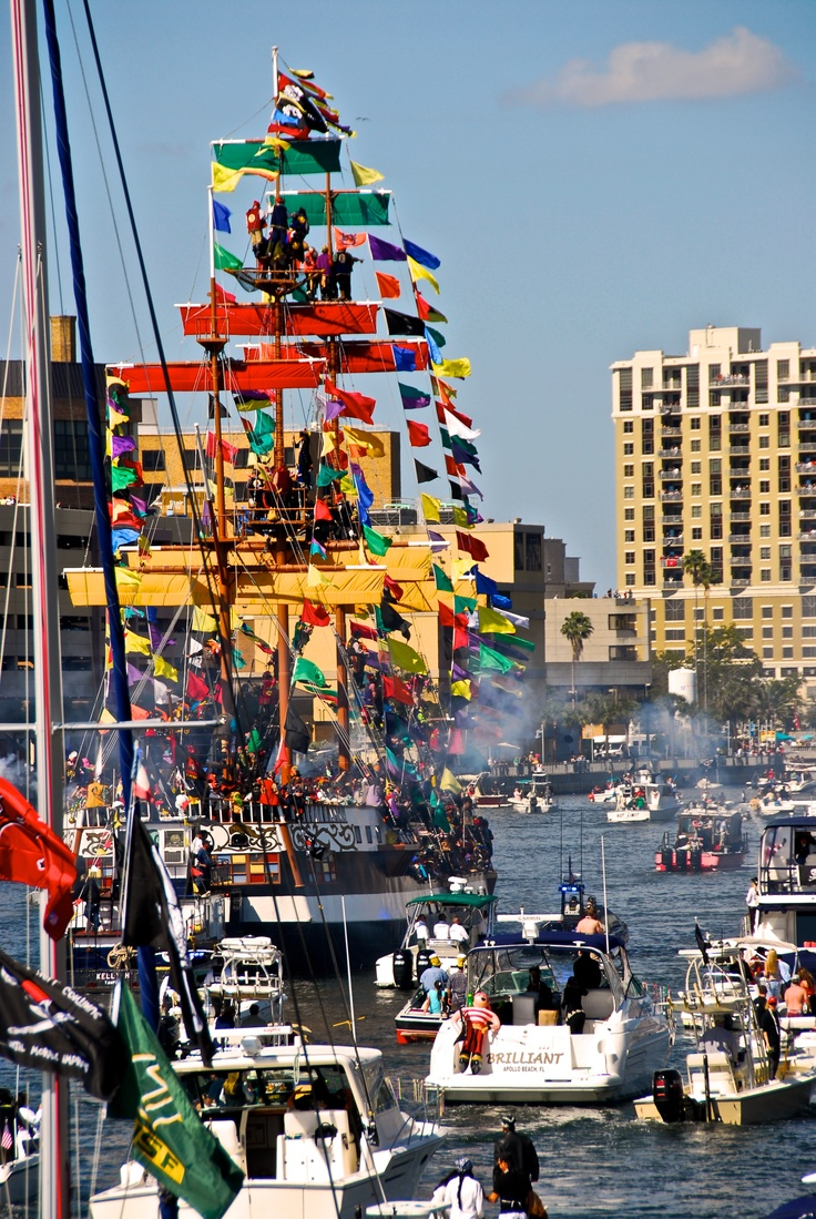 The annual Gasparilla invasion of Tampa. A mid winter ritual that celebrates the wonderful weather of Florida.