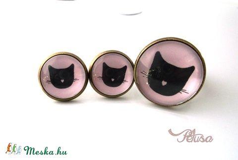 Macskás fülbevaló gyűrű szett cicás, Ékszer, óra, Gyűrű, Fülbevaló, Ékszerkészítés, Meska