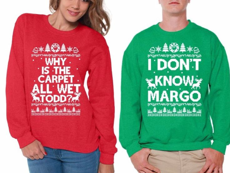 Todd and Margo Matching Couples Ugly Christmas Sweatshirts by DreamteesUS on Etsy https://www.etsy.com/listing/479447378/todd-and-margo-matching-couples-ugly