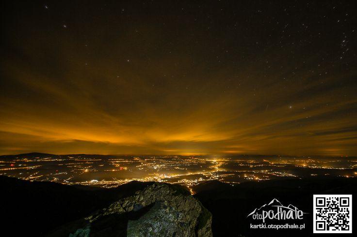 Widok z Kasprowego Wierchu na nocne Podhale
