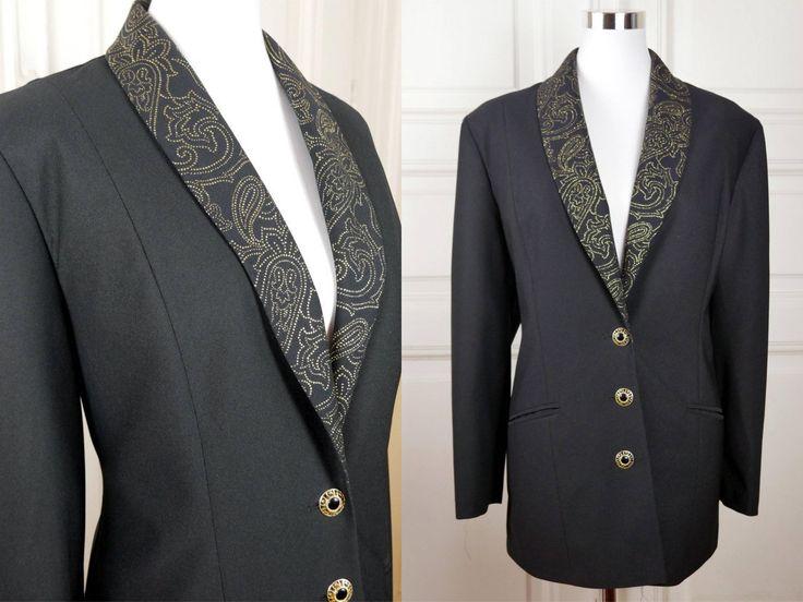 European Vintage Tuxedo Jacket, Black Elegant Women's Tuxedo Blazer, Glittery Gold Shawl Collar, Sheer Dinner Jacket: Size 14 US, Size 18 UK by YouLookAmazing on Etsy