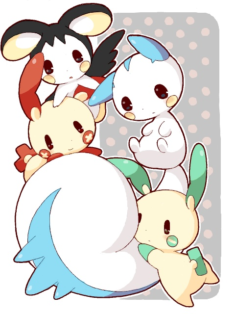 pokemon cuteness! The only pokemon I know from this picture are Plusin and Minusin. Or are they something else? I need to some serious research on Pokemon before summer ends! There's no such thing as serious when you're discussing Pokemon because they're just cartoons! I should relax.