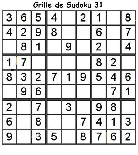 Imprimer la grille 31 de sudoku Primaire cycle 3   Sudoku, Grille de sudoku et Sudoku enfant