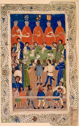 circa 1460.The Court of King's Bench, where Coke brought his first case,A manuscript of the Court of King's Bench at work,