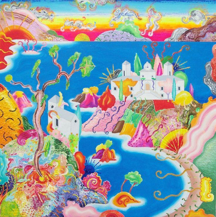 Luca Alinari, Senza titolo, acrilico e resine su tela applicata a tavola, cm. 90x90, Simboli Art gallery Firenze