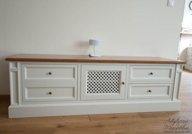 front szafki RTV z ażurowymi drzwiczkami, szafka telewizyjna olchowa, RTV commode, classic RTV cabinet, wooden tv stand with oak countertop