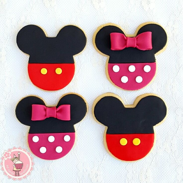 Mi tarta preferida : Como decorar galletas de Mickey y Minnie Mouse