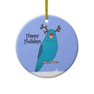 Cartoon Reindeer Blue Parrotlet Ornament
