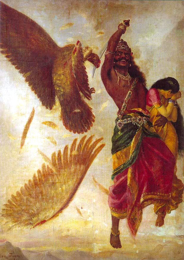 The demi-god vulture 'Jatayu' is struck down by the demon 'Ravana', as 'Jatayu' attempted to intercede in the demon's kidnapping of Sita. Artist Raja Ravi Varma