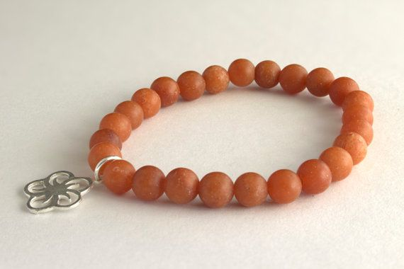 Carnelian Beaded Bracelet with Starling Silver by MoniqueUniquely