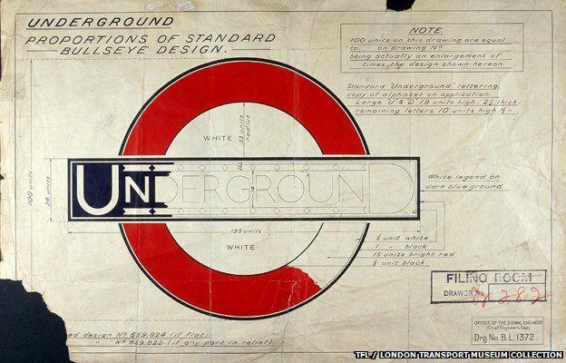 Edward Johnston's original drawing for the London Underground symbol (Source: London Transport Museum)