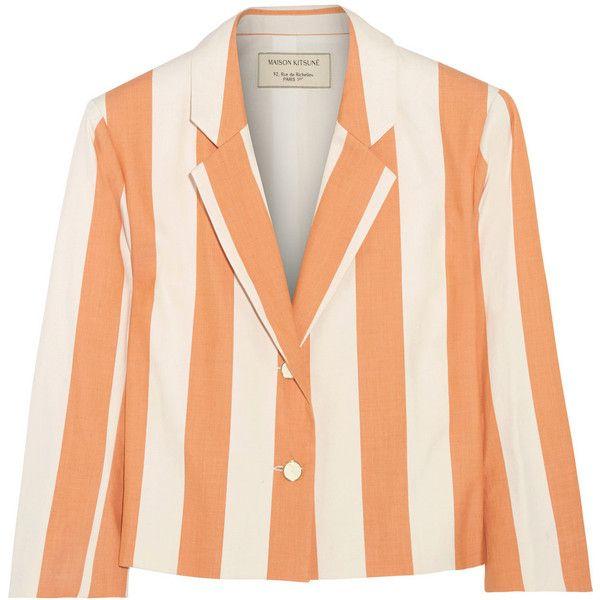 Maison Kitsuné Cropped striped cotton blazer (14.920 RUB) ❤ liked on Polyvore featuring outerwear, jackets, blazers, blazer, orange, red striped blazer, orange blazer, cotton jacket, striped jacket and red jacket