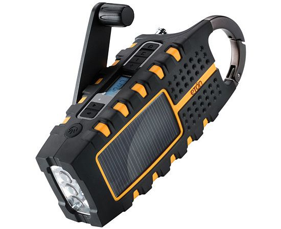 Eton Scorpion.$50  A rugged & splashproof NOAA weather/AM/FM radio with LED flashlight ,and it doubles as a tool to charge your devices in the outdoors, either by hand crank or solar panels.