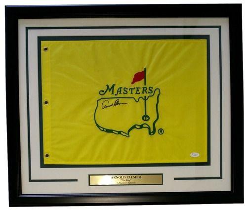 Arnold Palmer Signed Framed Yellow PGA Masters Flag JSA LOA