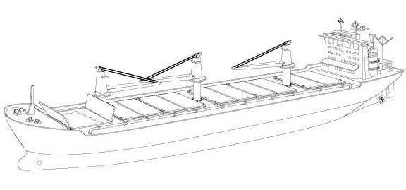 A Bulk Carrier is designed to carry dry bulk cargo.  Distinguishing Features: A bulk carrier typically has a flush deck with numerous waterproof hatches covering holds into which bulk cargo is stored. Some bulk carriers have deck cranes.  Size or Length: Bulk carrier vessels vary greatly in size depending upon the intended cargo and regions served. They range from 10,000 DWT (deadweight tons) to 364,000 dwt in capacity. The longest bulk carrier is 1125ft (343m) in length.