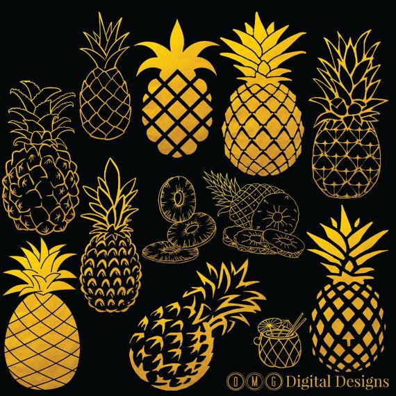 12 Pineapple Clipart Digital Images Clipart by OMGDIGITALDESIGNS
