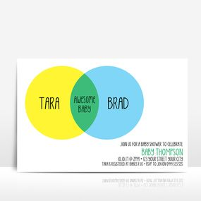 Venn diagram yellow and blue baby shower invitation