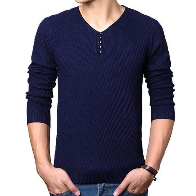 Men Sweater Cashmere Wool Casual V-neck Pullover Slim Fit Long Sleeve Shirt Knit