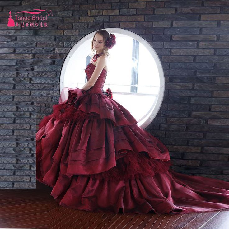 Gorgeous Burgundy Wedding Dresses Vintage Country A Line Bridal gowns Elegant robe de mariage 20 ...