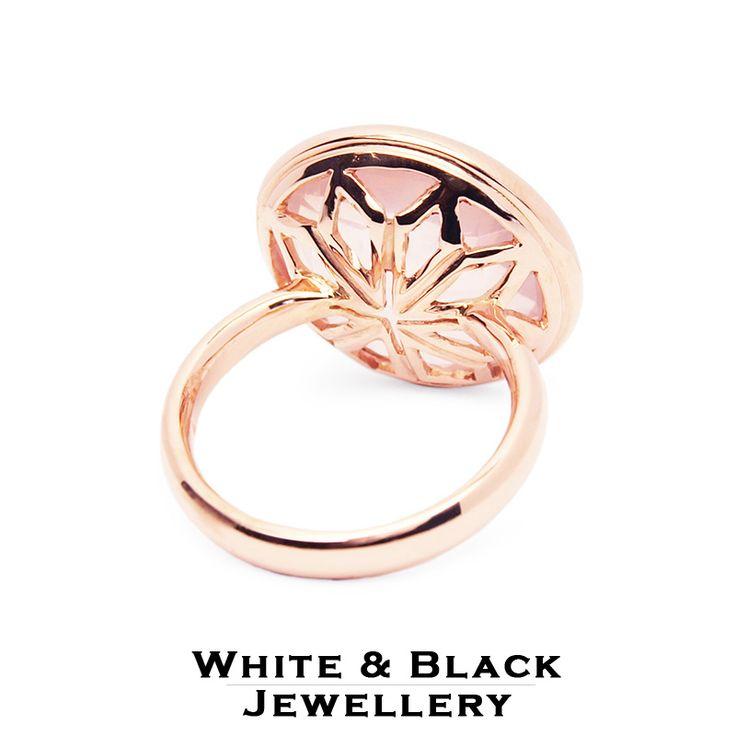Rosegold gyűrű rózsakvarc kristállyal - Rosegold ring with rosequartz crystal