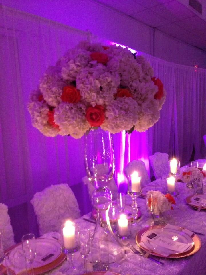 Tall elegant wedding centerpiece hydrangea