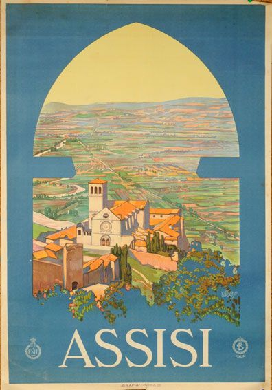 Vintage Travel Poster of Assisi - Umbria