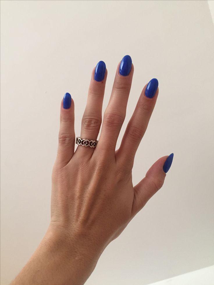 Royal Blue Gelish Almond Nails