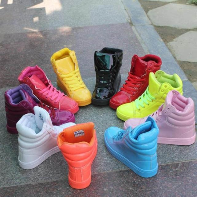 Womens Candy Color Girls High Top Sneakers Lace Up Flats Trainers Athletic Shoes #Unbranded #FashionSneakers