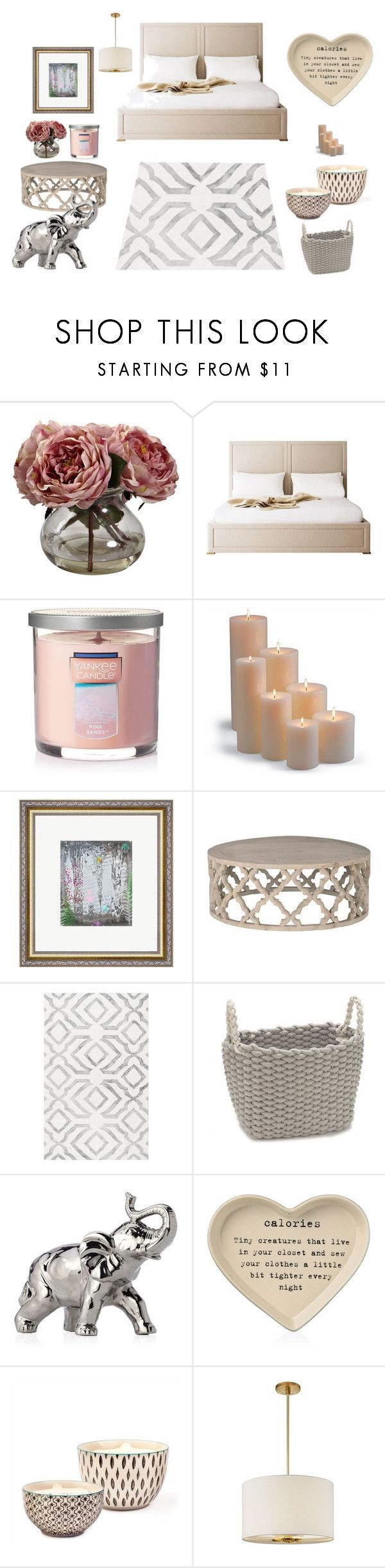 """Bedroom #2"" by kescg ❤ liked on Polyvore featuring interior, interiors, interior design, home, home decor, interior decorating, Nearly Natural, Yankee Candle, Frontgate and Gray Manor"