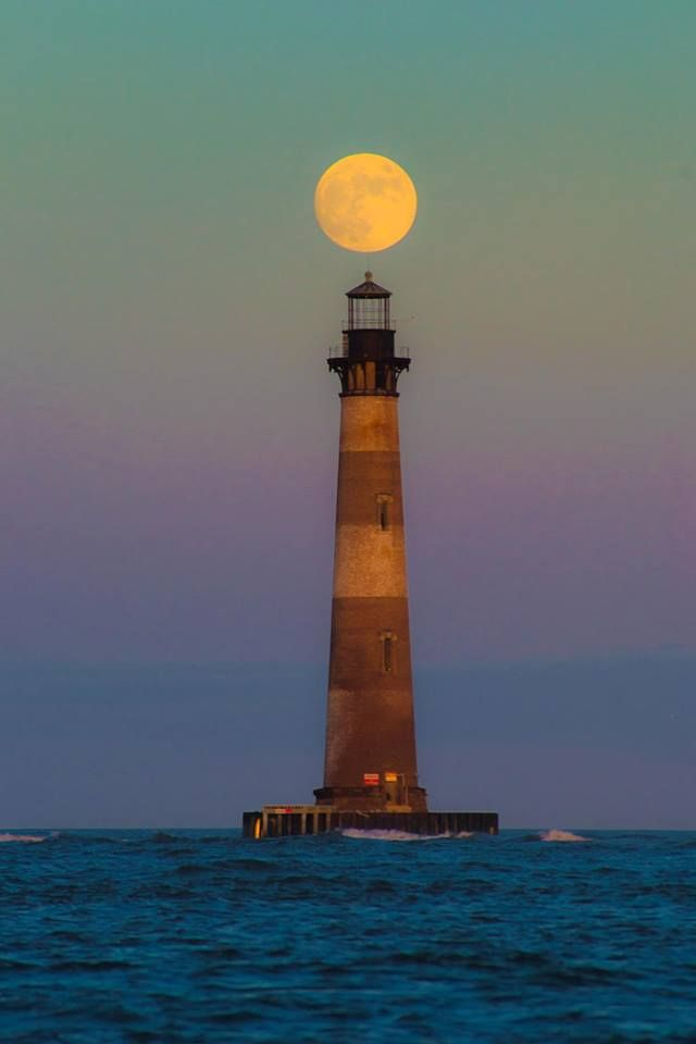 Epic #Moon Shot over Morris Island #Lighthouse. Seabrook, #SC http://dennisharper.lnf.com/