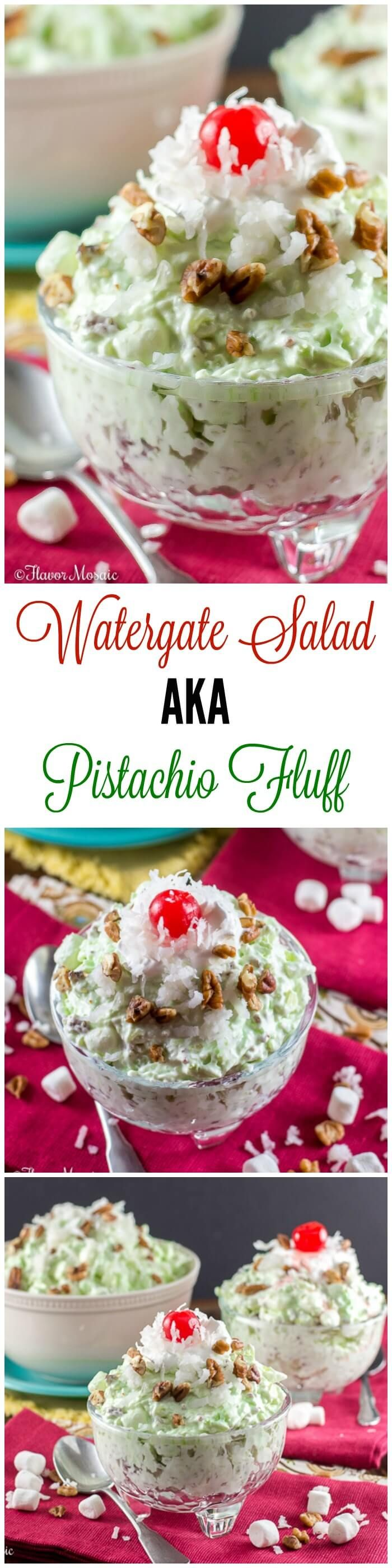 This Watergate Salad #SundaySupper, also known as Pistachio Salad, Pistachio Delight or Pistachio Fluff or Green Fluff, is a sweet, cool, crunchy dessert made with pistachio pudding, whipped topping, crushed pineapple, mini marshmallows, pecans and coconut. ~ https://FlavorMosaic.com