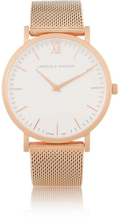 Larsson & Jennings CM rose gold-plated watch, Larsson & Jennings' rose gold-plated watch is part of the label's 'Chain Metal' series - it has a lightweight stainless steel strap. The white enamel dial is detailed with a single set of Roman numerals and is powered by precise Swiss Quartz movement.