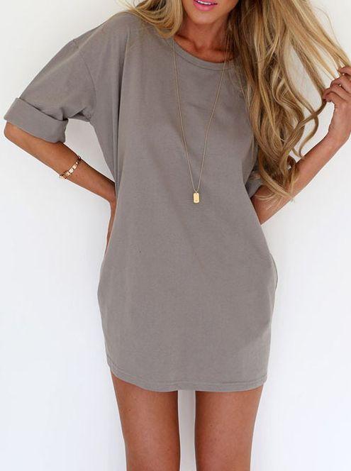 Grey Round Neck Half Sleeve Loose Dress