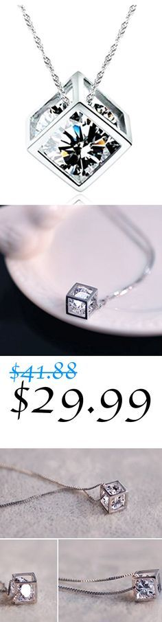 14k White Gold Plated 0.5ct Cubic Zirconia Diamond Cube Pendant Necklace For Women